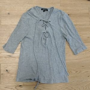 Topshop Grey Lace Up Top 6